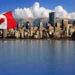 Vista y bandera de Canadá