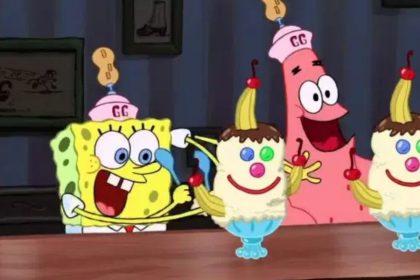 escena ebrio de helado bob esponja la película